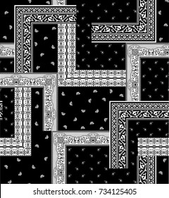 black and white bandanna  pattern