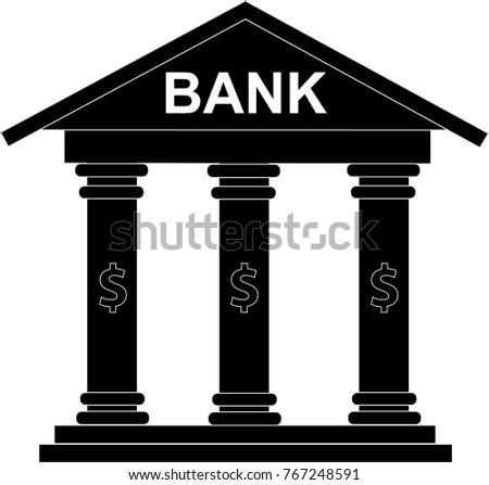 Black White Bank Financial Icon Clip Stock Vector Royalty Free