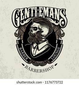 black and white barber logo