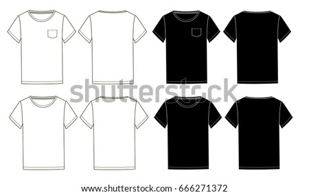 Black And White Basic Unisex Tshirts Template With Pockettechnical Drawingfront Back