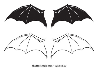Black and White Bat Wings Vector Animal Cartoon Graphic Illustration
