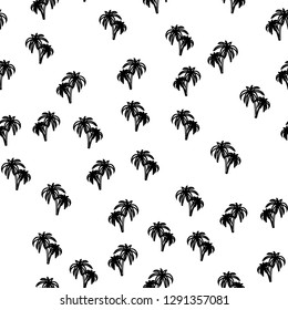 Black and white beach seamless pattern with palm trees. Exotic background