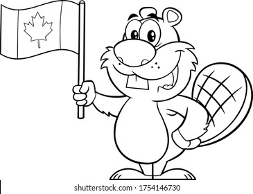 Black And White Beaver Cartoon Mascot Character Holding A Canadian Flag. Vector Illustration Isolated On White Background