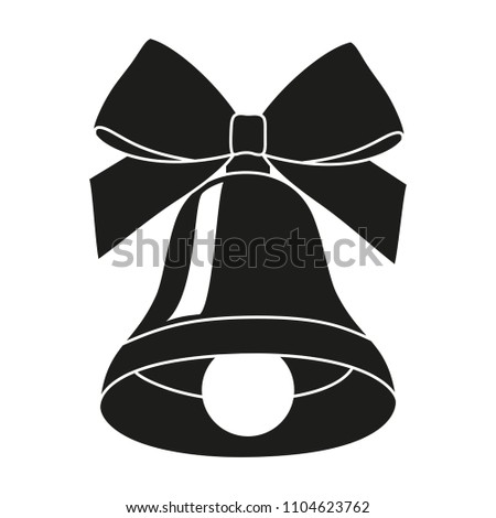 black and white bell silhouette new year holiday themed vector illustration for icon sticker