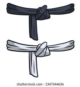 Black and white belt karate and judo. Oriental combat sport. Element of clothing Bathrobe fighter. Traditional Japanese kimono. Master level set. Hand drawn illustration