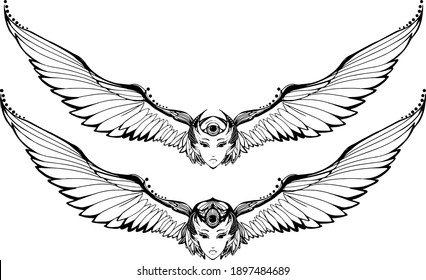 A black and white bird with a woman's face and large wings. Isolated vector tattoo on white background.
