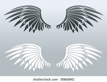 Black and white blade wings