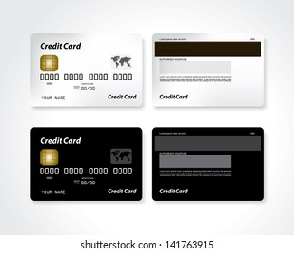 Black and white blank credit card