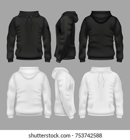 Black and white blank sweatshirt hoodie vector templates. Illustration of sweatshirt with hoodie