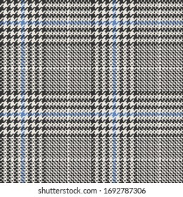 Black, White, & Blue Houndstooth Glen Plaid Seamless Vector Illustration