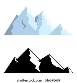 Black and white and blue stylized mountain shapes.
