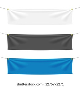 Black, white and blue textile banners with folds