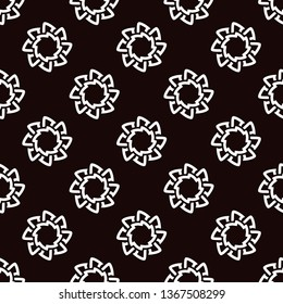 Black and white bold line runic flower pattern. Allover vector pattern for fabric, apparel textile, adult colouring book, interior, wallpaper, phone case. Monochrome eight petals flower floral design