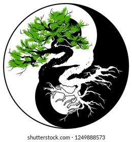 Black and white Bonsai tree in the Yin Yang symbol