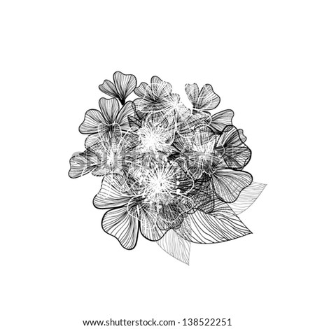 Black White Bouquet Flowers Stock Vector Royalty Free 138522251