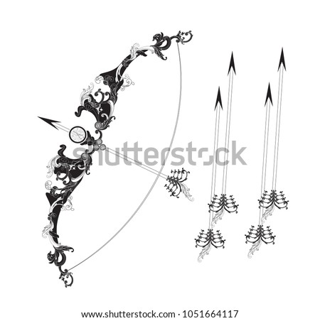 Black White Bow Arrow Symbol Sagittarius Stock Vector Royalty Free