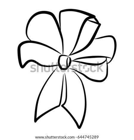 black white bow line drawing outline stock vector (royalty freeblack and white bow line drawing, outline, hand drawing, depicting the bow