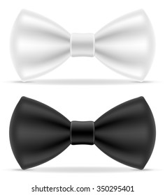 black and white bow tie for men a suit vector illustration isolated on background