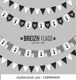 Black and white breton little flags garlands vector set. Pennants of Brittany (Bretagne) with hermines and triskels.