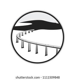Black and White Bridge Circle Logo Badge Label Vector Illustration Background