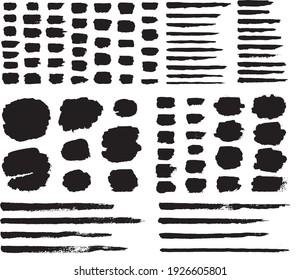 Black and white brush strokes vector set.