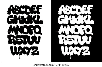 Black and white bubble graffiti font vector