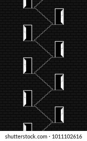 The Black and White Building Exterior. A Wall with Open Doors. Vector Illustration