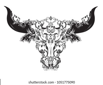Black and white bull head symbol of Taurus zodiac with vintage Victorian patterns.