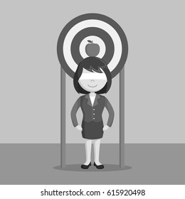black and white businesswoman using her self as a target black and white style