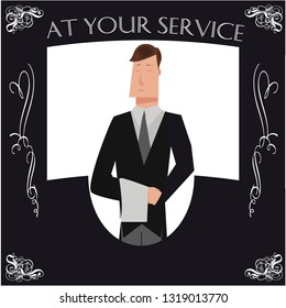 Black and white butler poster with cartoon butler and typography at your service