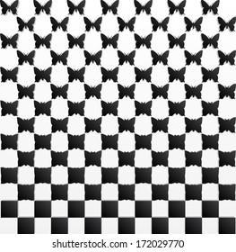 black white butterfly background/ metamorphosis / vector illustration