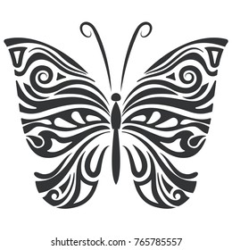 Black and white butterfly floral shape. Vector illustration.