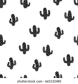 Black and white cactus. Vector illustration. Seamless pattern. Repeating wallpaper.