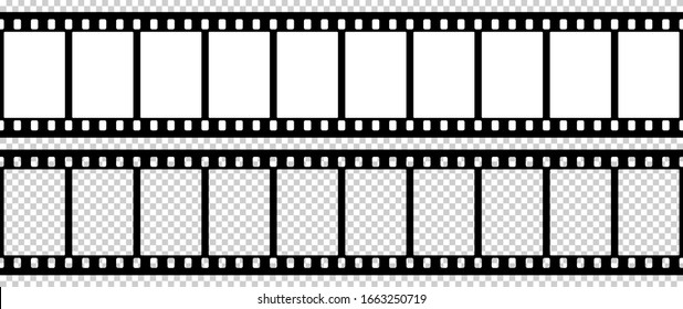 Black and white camera film template. The rounded corners of the frame. Vector illustration.