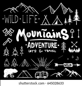 Black and white camping collection of icon made with ink and brush. Doodle style. Hand drawn set of adventure items. campfire, mountains, wildlife, bear, tent, fireplace, fire, trees.