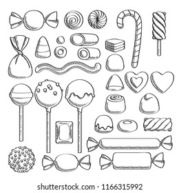 Black and white candies set - hard candy, chocolate bonbons, licorice, marshmallow twists, cake pops, dragee. Vector illustration in sketch style. Assorted sweets.