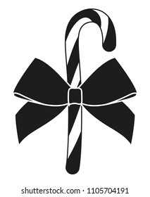 Black and white candy cane gift with bow silhouette. Xmas themed vector illustration for icon, logo, sticker, patch, label, sign, badge, certificate or poster decoration