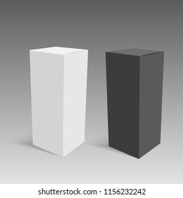 Black and white cardboard closed box. Vector.