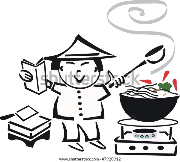 Black White Cartoon Asian Chef Cooking Stock Vector Royalty Free 47920912