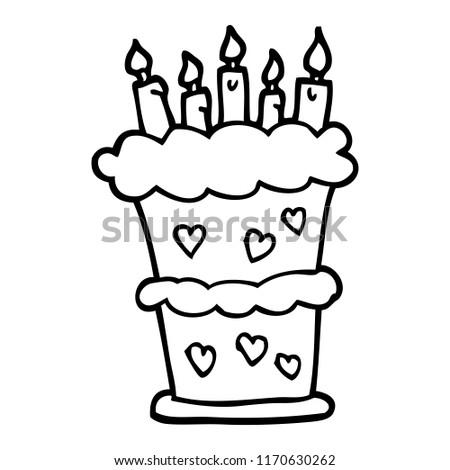 Black White Cartoon Birthday Cake Stock Vector Royalty Free