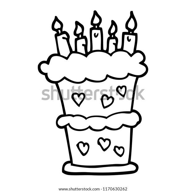 Awesome Black White Cartoon Birthday Cake Stock Vector Royalty Free Funny Birthday Cards Online Elaedamsfinfo