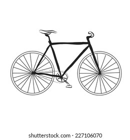 Black and white cartoon fix bicycle