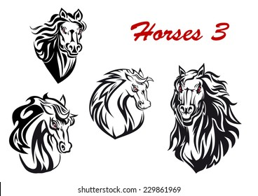 Black and white cartoon horse characters head icons with flowing manes, two facing the viewer and two turning to the side, for tattoo, mascot or equestrian sports design