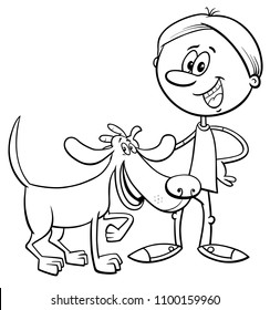 Black and White Cartoon Illustration of Boy with Funny Dog or Puppy Coloring Book
