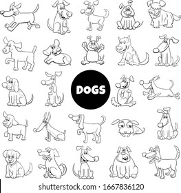 Black and White Cartoon Illustration of Dogs and Puppies Animal Characters Set Large Collection