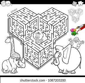 Black and White Cartoon Illustration of Education Maze or Labyrinth Activity Game for Children with Safari Animals Coloring Book