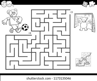Black and White Cartoon Illustration of Education Maze or Labyrinth Activity Game for Children with Bear Playing Soccer Coloring Book