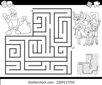 Black and White Cartoon Illustration of Education Maze or Labyrinth Activity Game for Children with Santa Claus Coloring Book