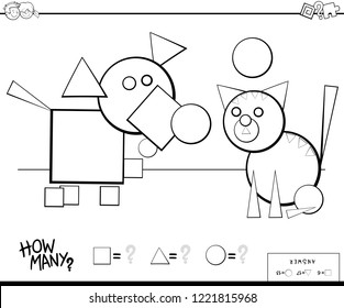 Black and White Cartoon Illustration of Educational Counting Shapes Game for Children Color Book