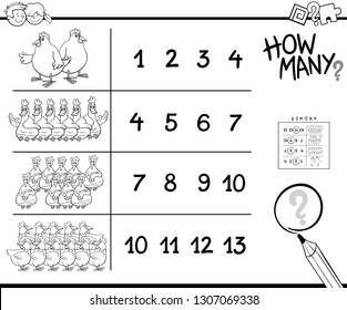 Black and White Cartoon Illustration of Educational Counting Activity for Children with Chicken Animal Characters Coloring Book